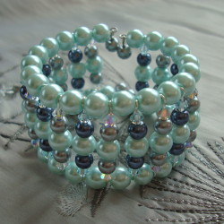 Blue Glass Pearl and Swarvoski Memory Wire Bracelet