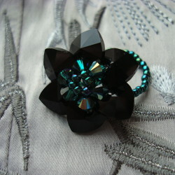 Black Swarovski Crystal Flower Ring