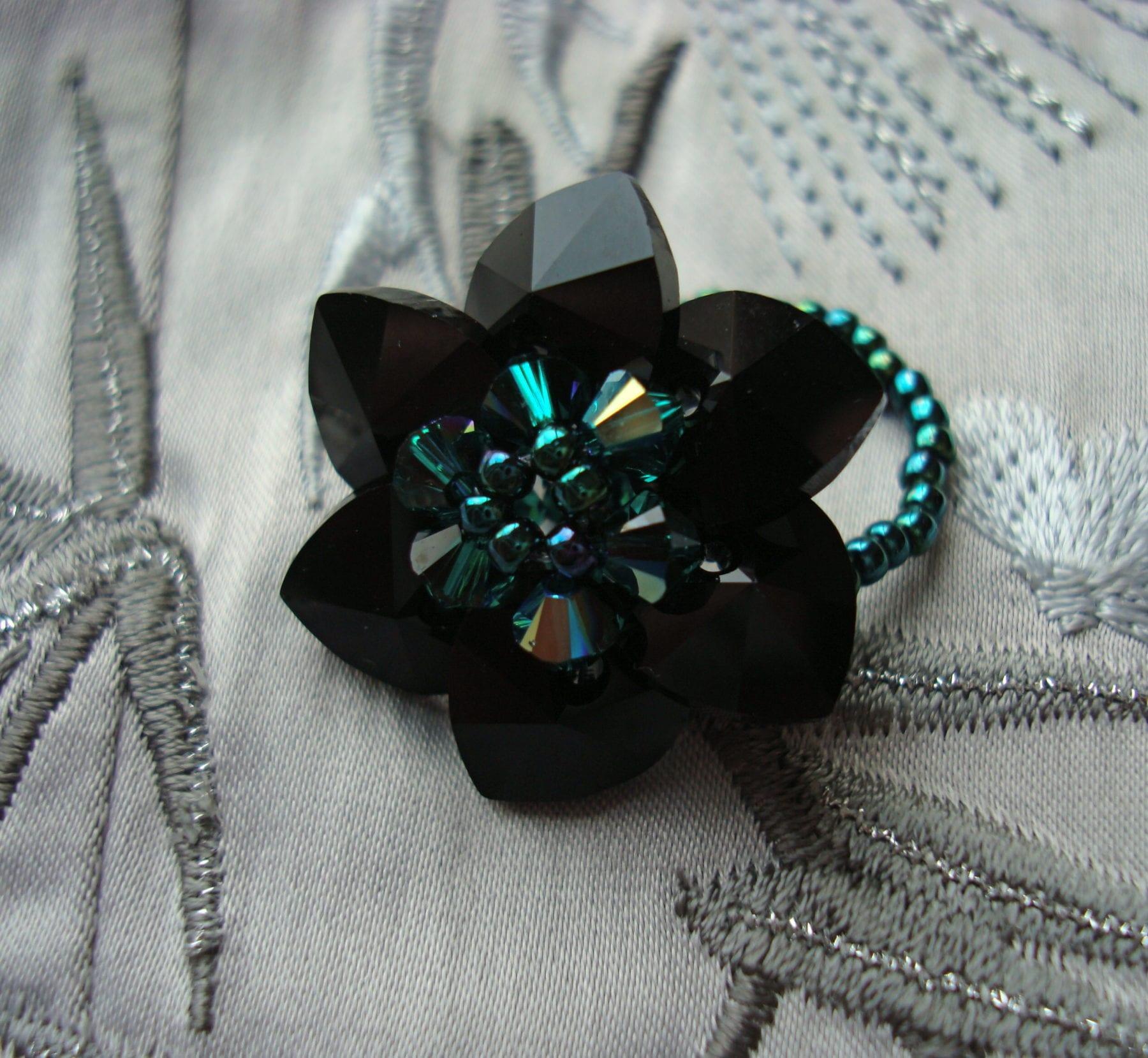 Beaded rings a couple of projects i made craftaholique black swarovski crystal flower ring baditri Choice Image