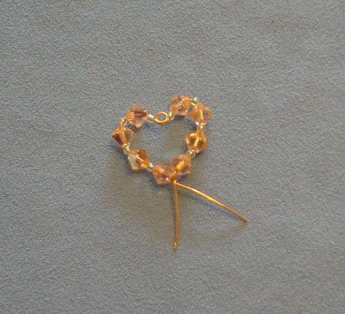 How to make a swarovski crystal wire heart component