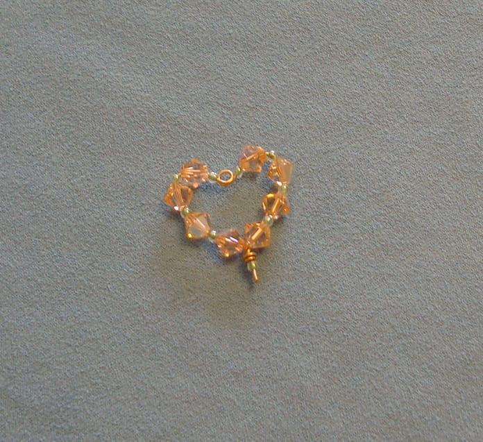 Swarovski crystal wire heart component