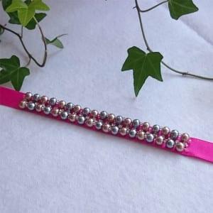 Cute Beaded Ribbon Bracelet 2 - Craftaholique