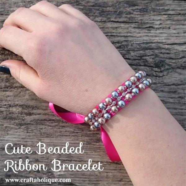 Cute Beaded Ribbon Bracelet 3 - Craftaholique
