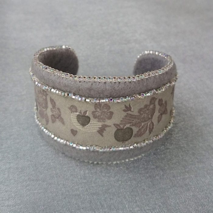 Ribbon and Felt Bead Embroidered Cuff Bracelet