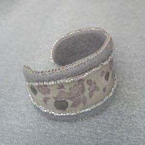 Ribbon & Felt Beaded Cuff Bracelet