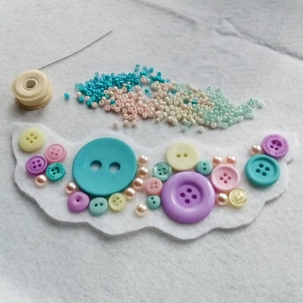 How to make a bead embroidery statement necklace using felt, ribbon, seed beads and buttons