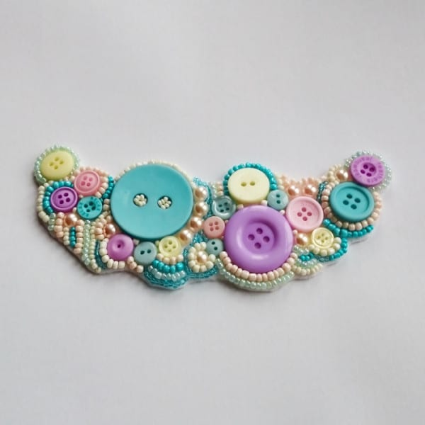 How to make a bead embroidered statement necklace - using beads, buttons, ribbon and felt!