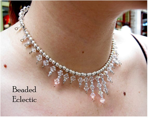 Memory Wire Statement Necklace with Crystals