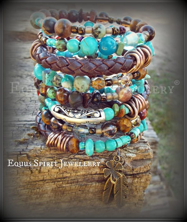 Braided leather and beaded memory wire wrist wrap - Equus Spirit Jewellery