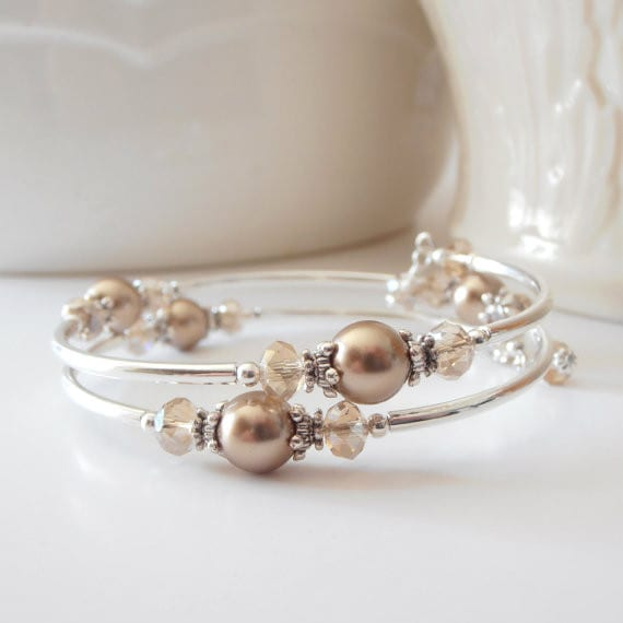 Bridesmaid Bracelets - Beaded Memory Wire Bracelet