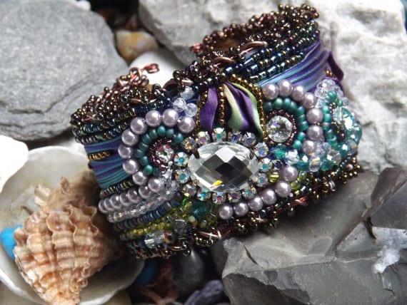 Shibori Silk Cuff Bracelet using Memory Wire
