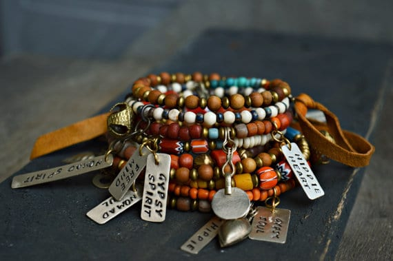 Hippie Boho Gypsy Memory Wire Bracelet with Silver Tags