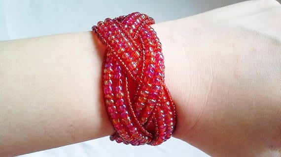 Seed Bead Memory Wire Cuff Bracelet