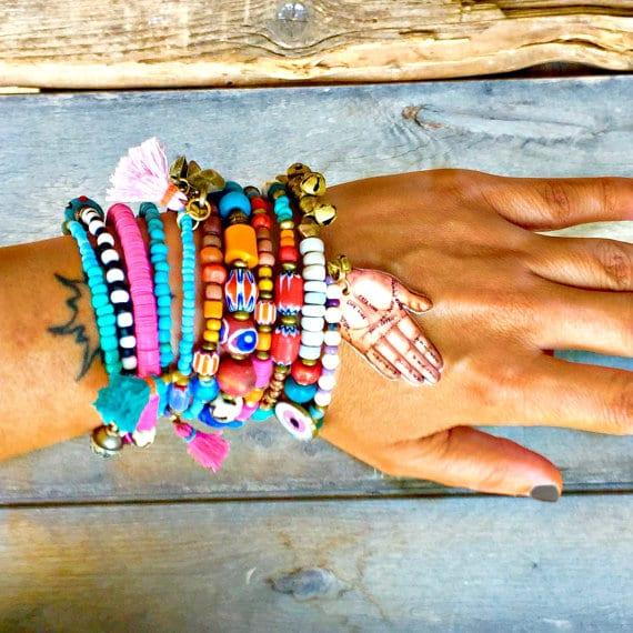 Hippie Boho Gypsy Memory Wire Bracelet