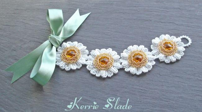 Kerrie Slade Bead Artist - Rivoli Daisy Bracelet