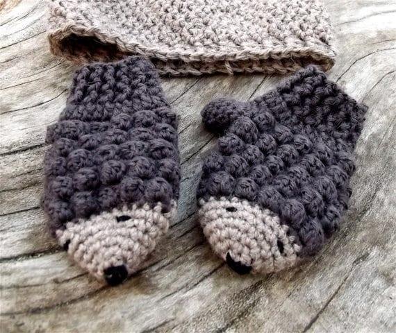 Hedgehog Crochet Mittens - Autumn Fall Handmade Showcase