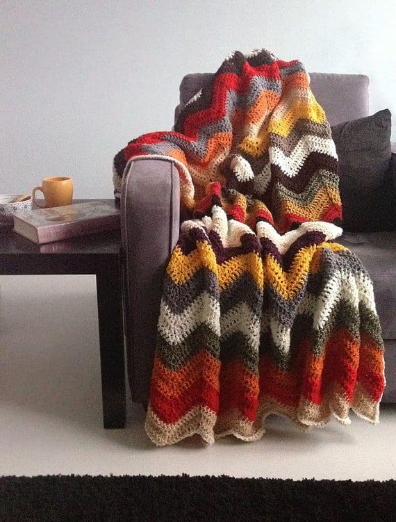 Autumn Chevron Crochet Blanket Afgan Throw