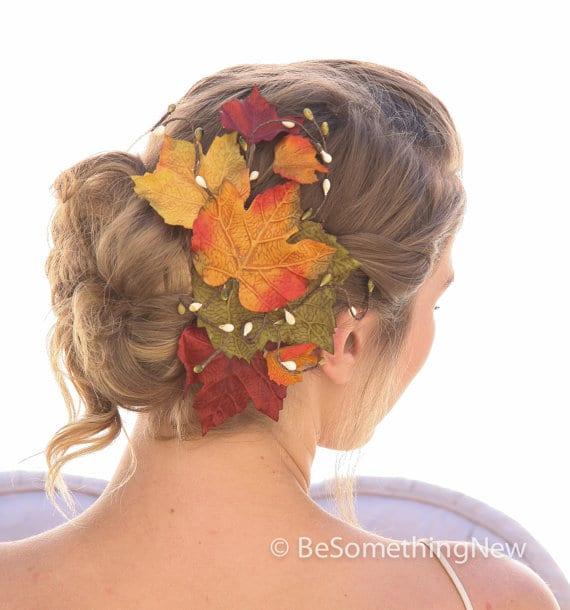 Autumn leaves hair comb