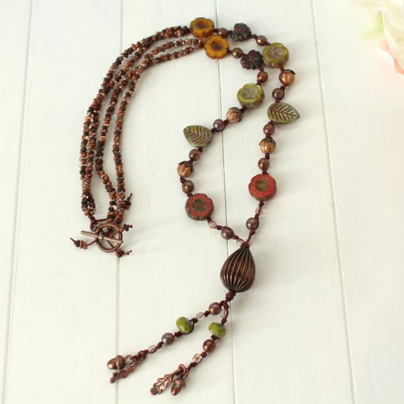 Autumn Fall Flower Beaded Necklace