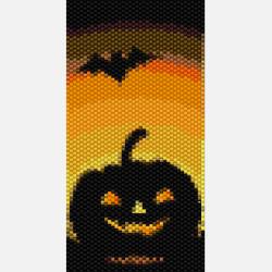 Halloween Beadwork Pattern - Halloween Peyote Stitch Cuff Bracelet