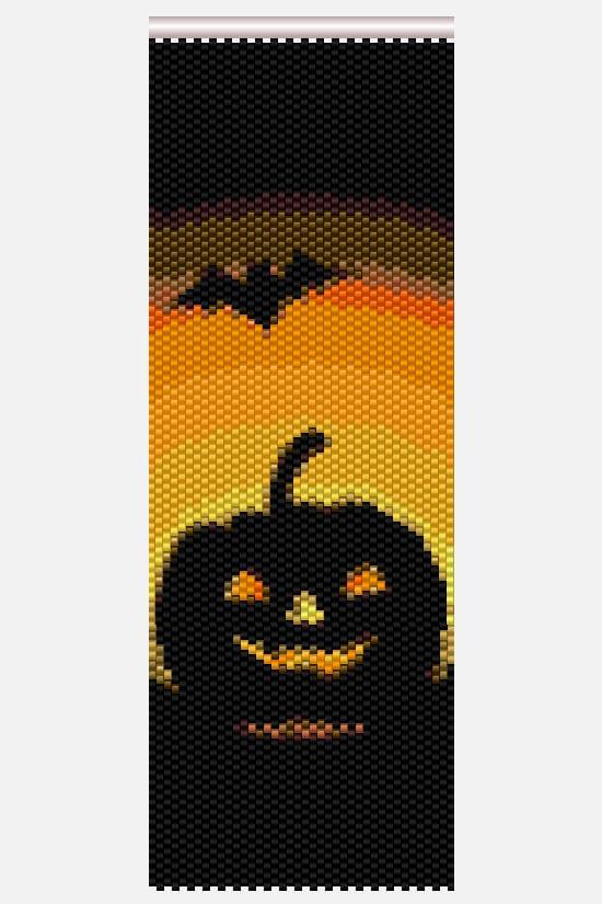 Halloween Beadwork Pattern - Peyote Stitch Cuff Bracelet - Halloween Seed Bead Project