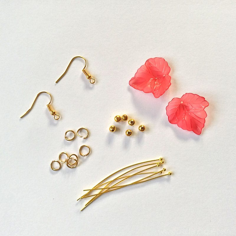 Lucite leaf beads and gold plated findings - leaf earrings tutorial