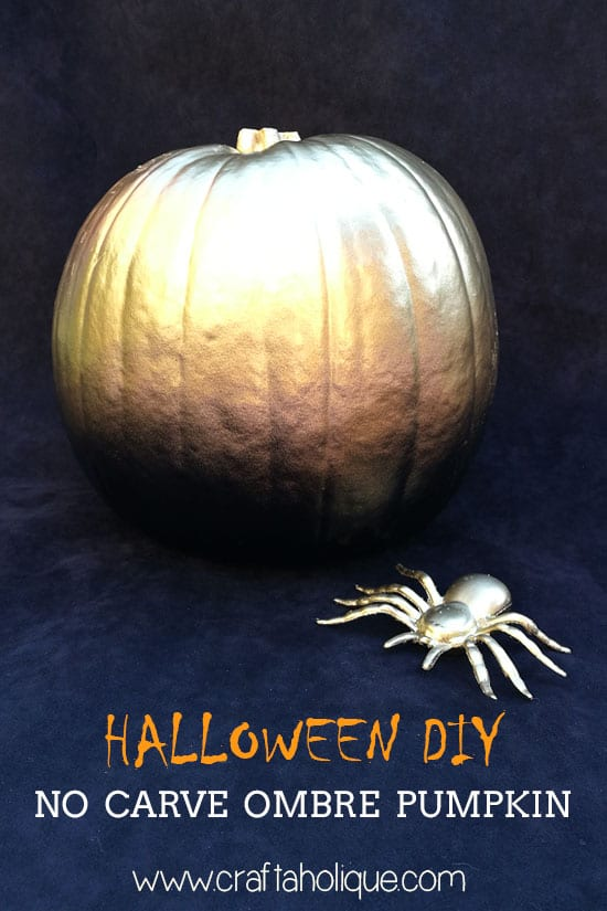 Ombre pumpkin - no carve pumpkin ideas from Craftaholique
