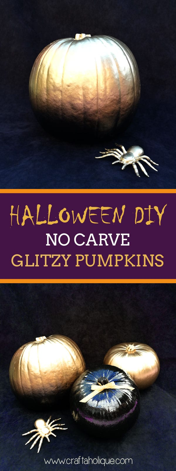 Halloween DIY - no carve pumpkin ideas from Craftaholique