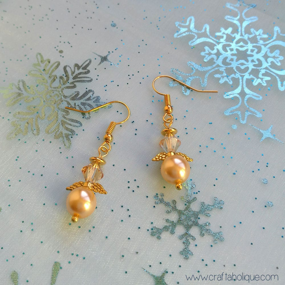 Christmas Crafts: How to Make Beaded Angel Earrings | Craftaholique
