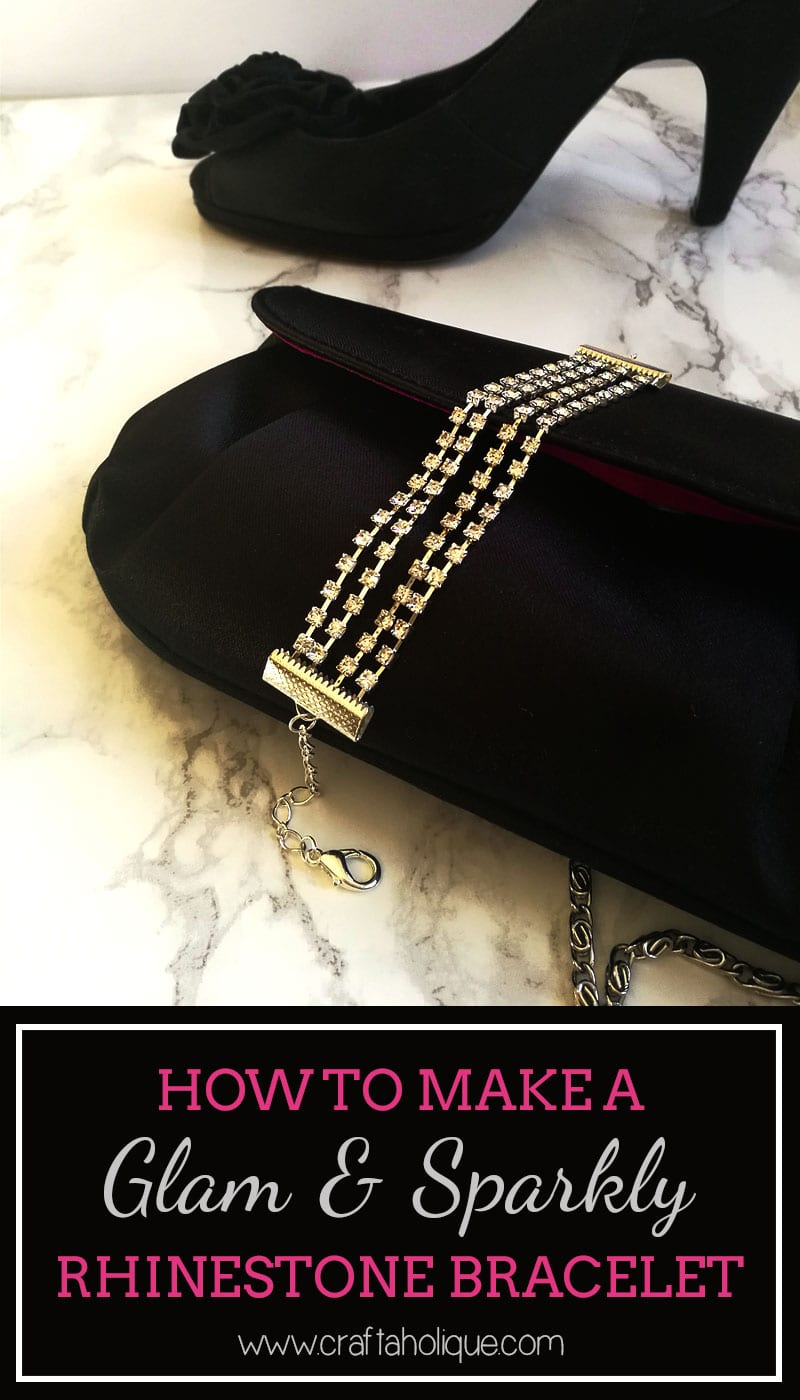 How to make a multi strand bracelet using rhinestone cupchain and flat ribbon ends - DIY party jewellery