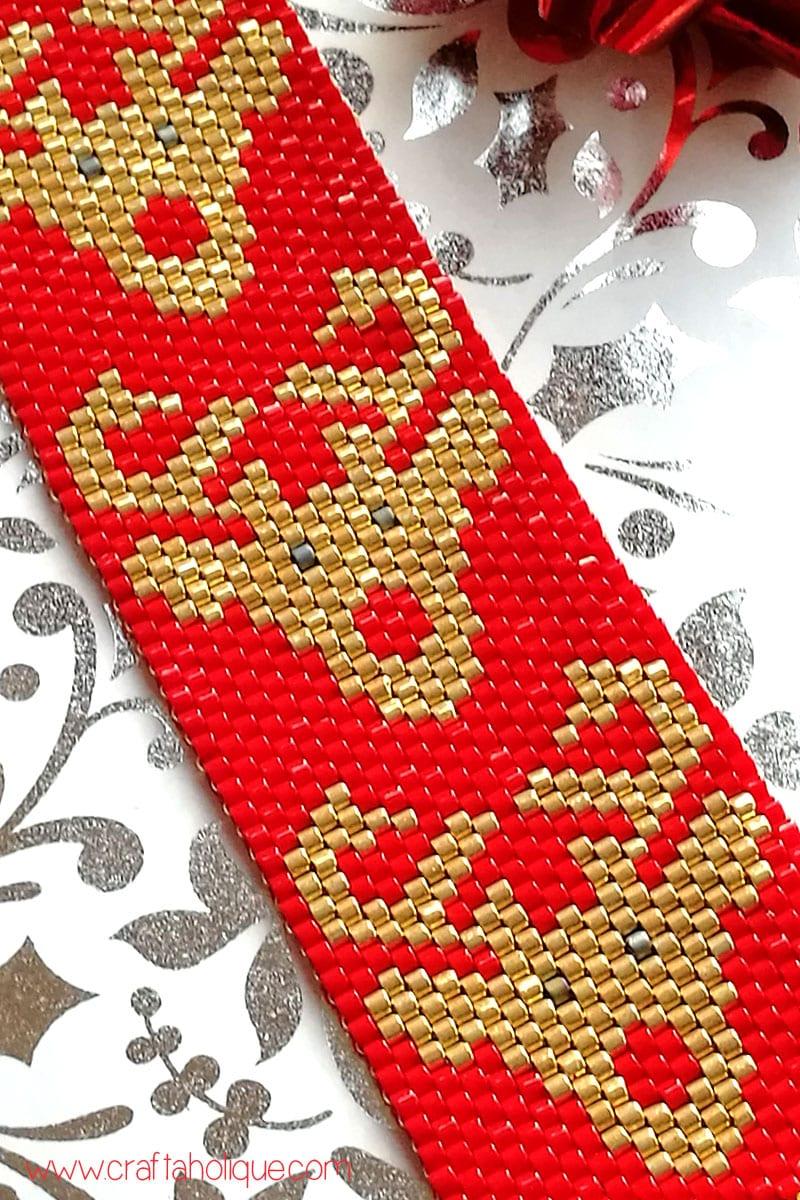 Rudolph Reindeer Peyote Cuff Bracelet Pattern - Christmas Jewellery Making