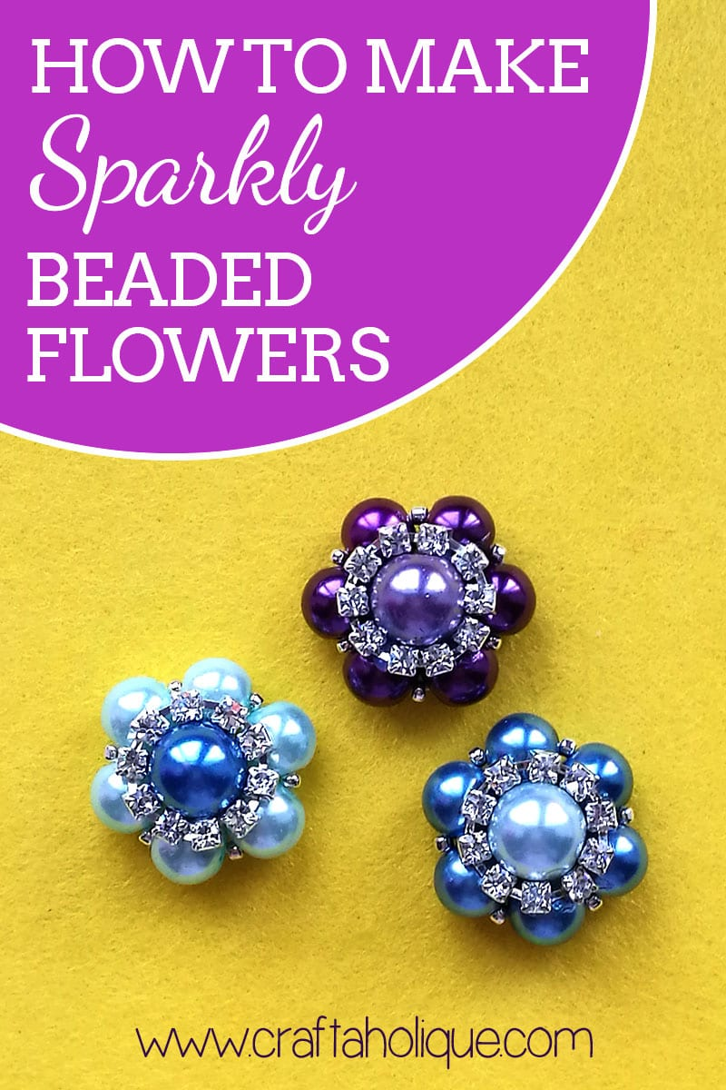 How to make a beaded flower using glass pearl beads, seed beads and rhinestone cupchain