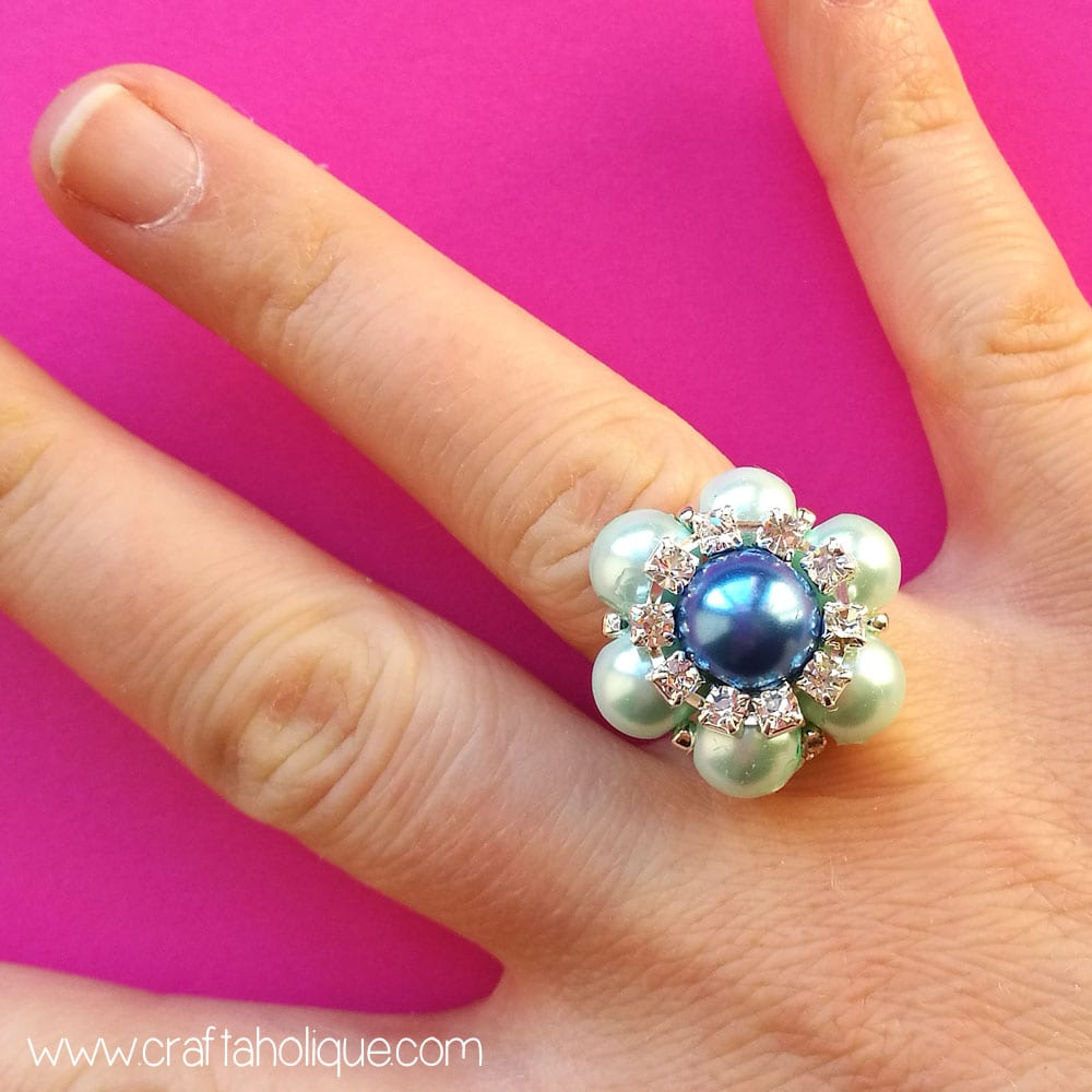 How to make a beaded flower ring - 10 minute make from Craftaholique