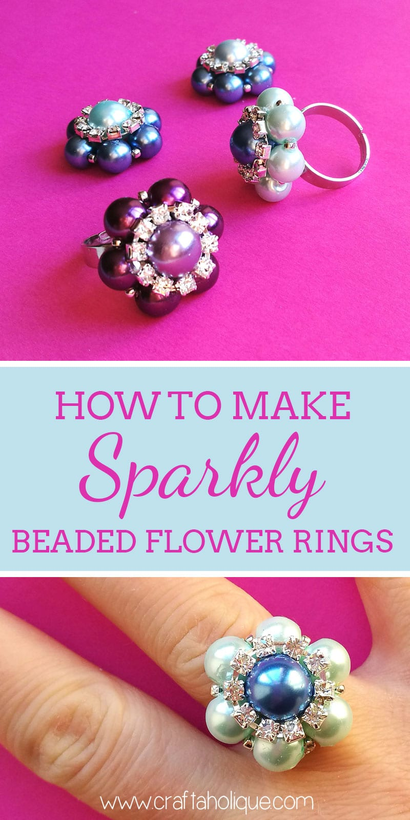 Beaded flower ring tutorial from Craftaholique