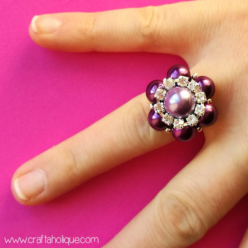 How to make a beaded flower ring