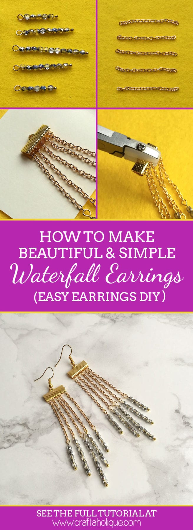 How to make a pair of waterfall earrings - easy earring DIY from Craftaholique
