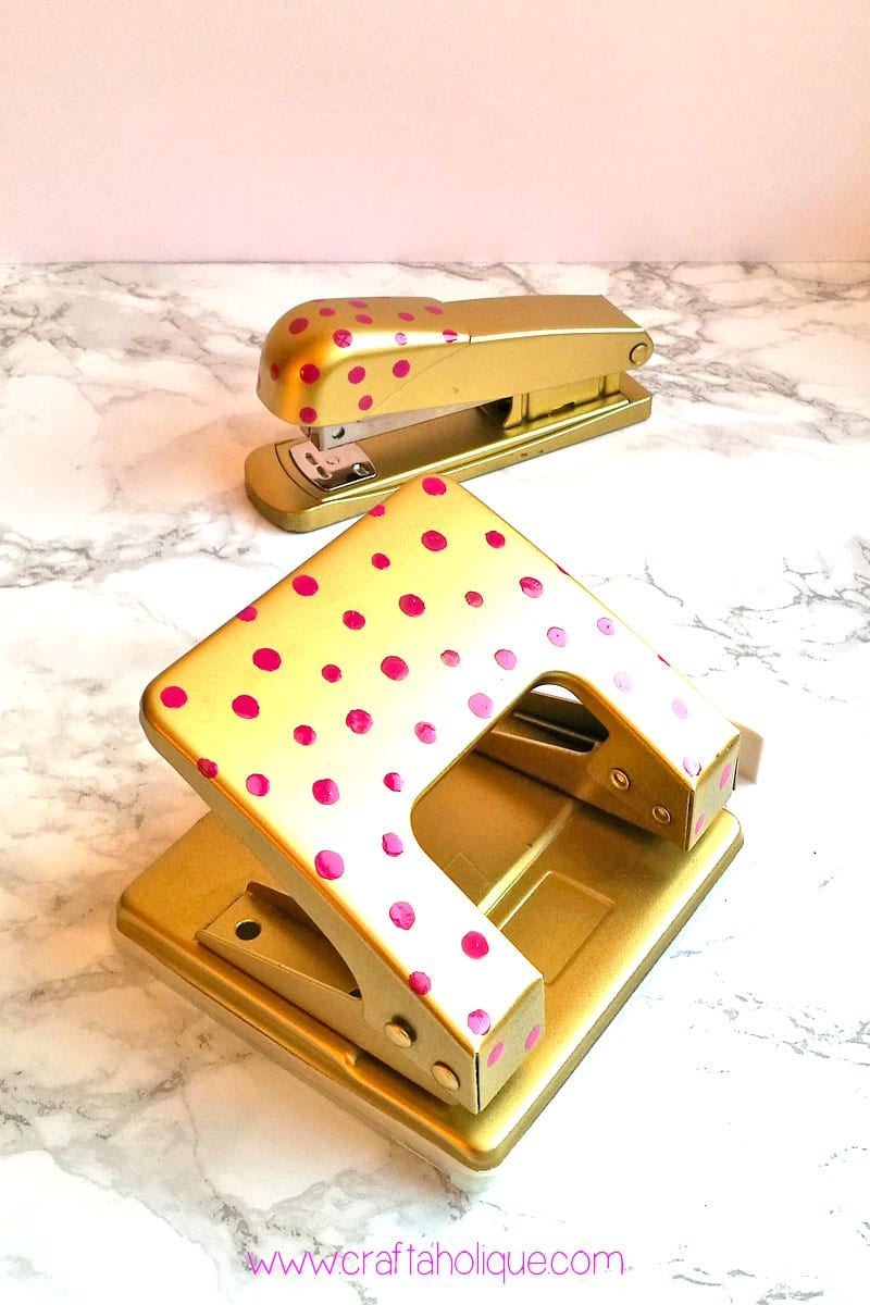 Nail polish project - how to makeover a hole punch and stapler - with spray paint!