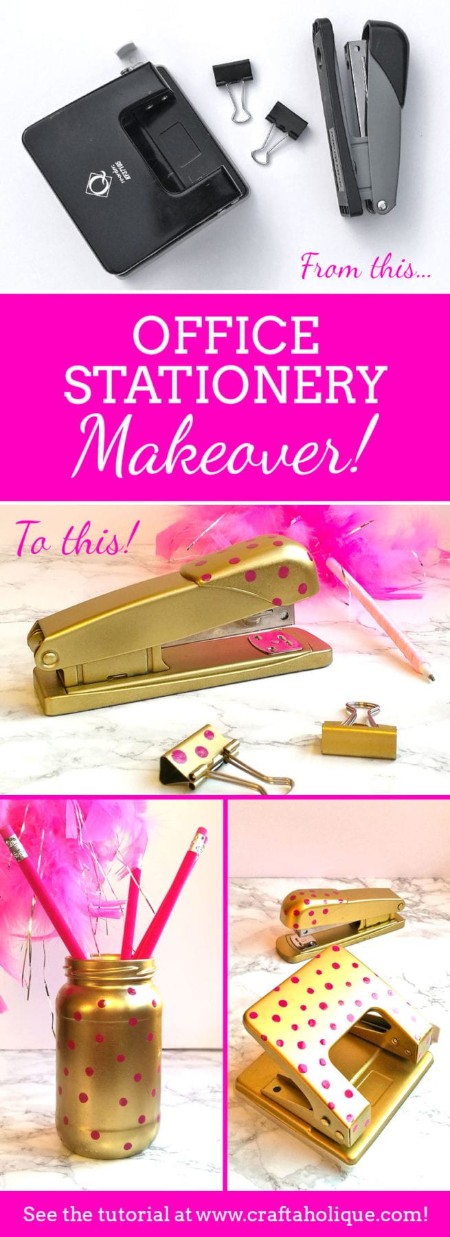 Office Stationery Makeover! How to jazz up your stapler, hole punch etc with spray paint and nail polish