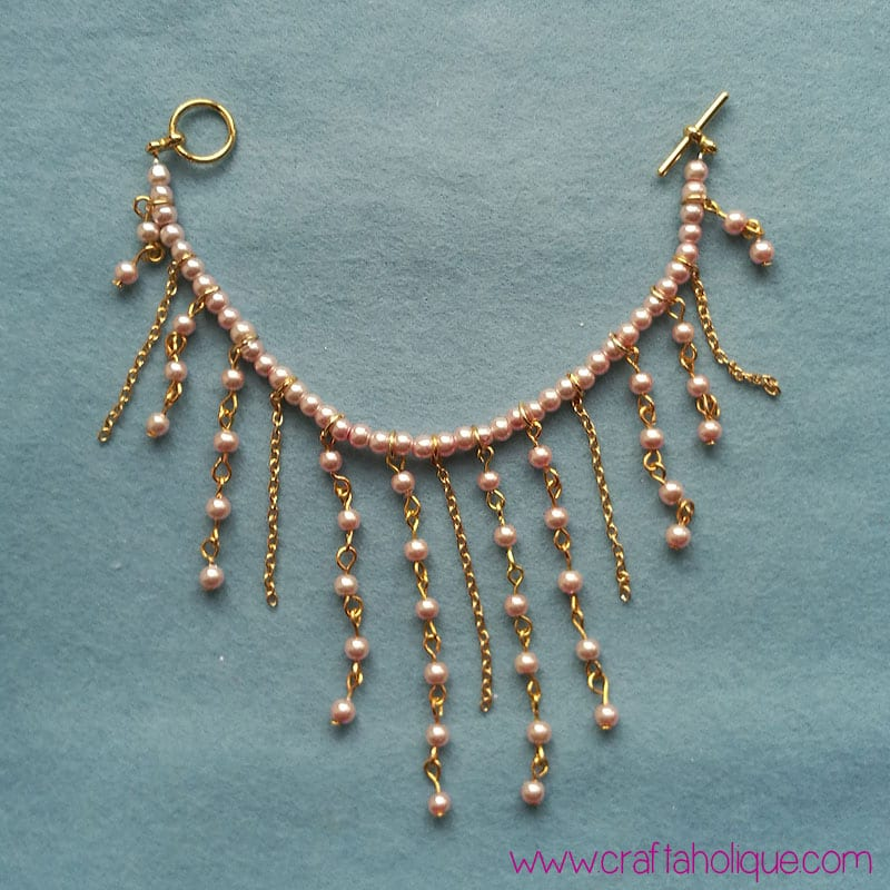 Beaded bracelet ideas - beautiful cascading waterfall bracelet with glass pearl beads and gold chain