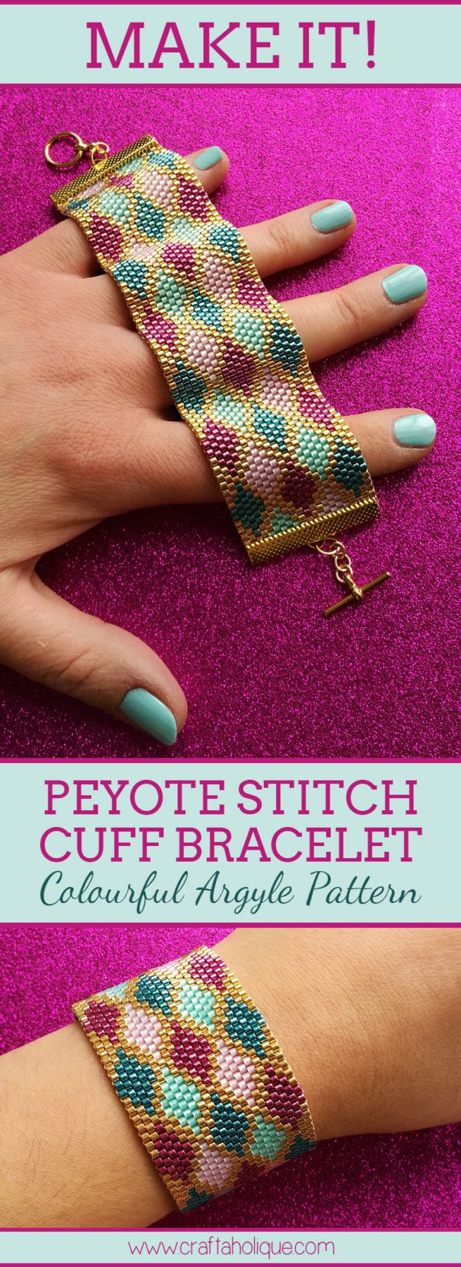 Peyote Cuff Bracelet Pattern - Miyuki Delica Beading Pattern for Colourful Argyle Bracelet