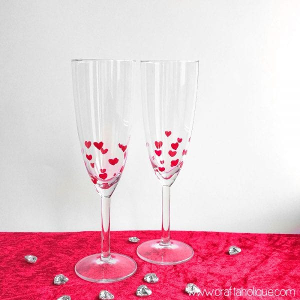 Valentine's Day Crafts: Nail Polish Heart Design Champagne Flutes