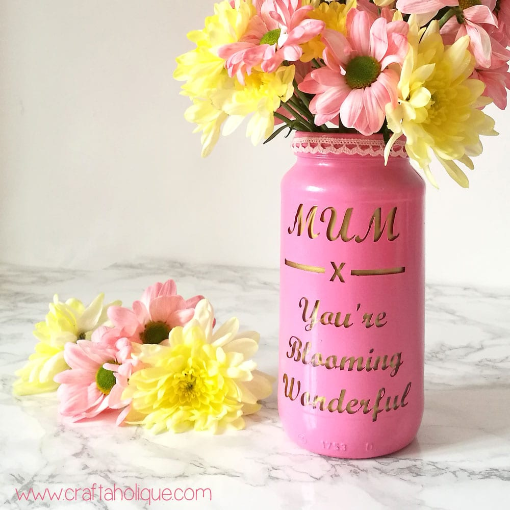 Mother S Day Craft Project Upcycled Jam Jar Vase Craftaholique