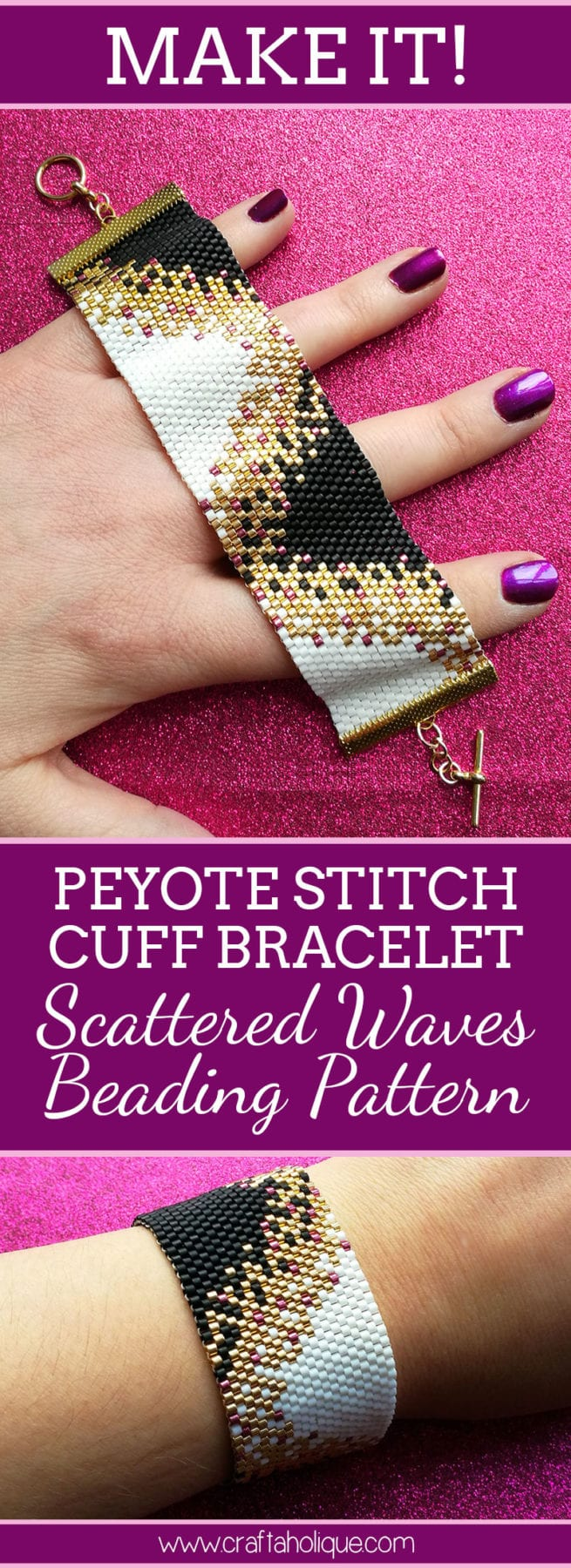Peyote Stitch Patterns - Black and White Peyote Bracelet - Beading Project