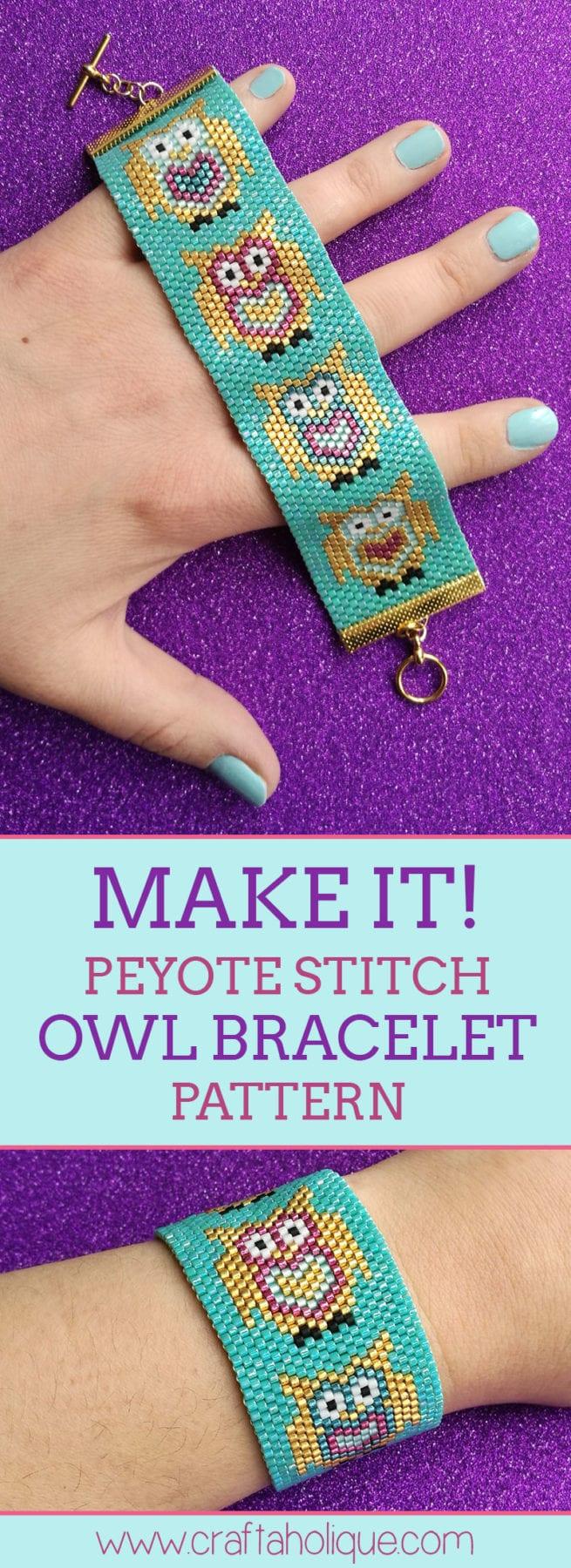 Peyote project - Cute Owl Beaded Cuff Bracelet with Miyuki Delicas - Odd Count Peyote Stitch
