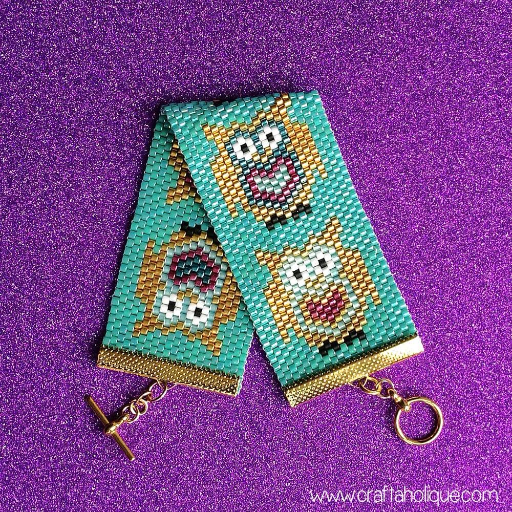 Flat Odd Count Peyote Stitch Beaded Cuff Bracelet Pattern - Cute Owls!