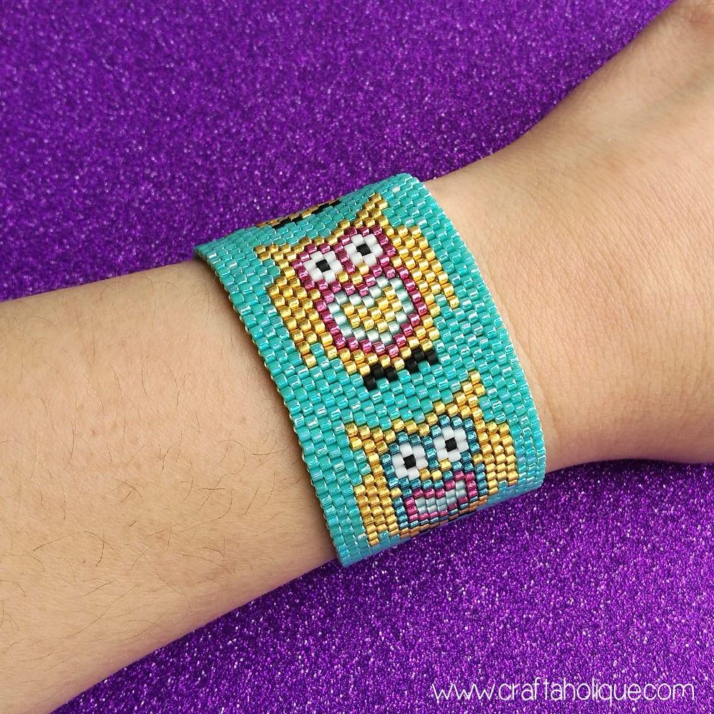 Cute Owl Beaded Cuff Bracelet - Flat Odd Count Peyote Stitch Pattern