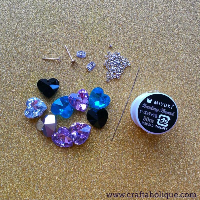Crystal Heart Earring Project - 10 minute jewellery DIY