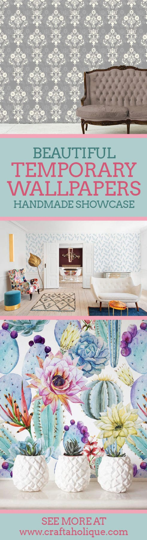 Beautiful temporary removable wallpapers - handmade on Etsy