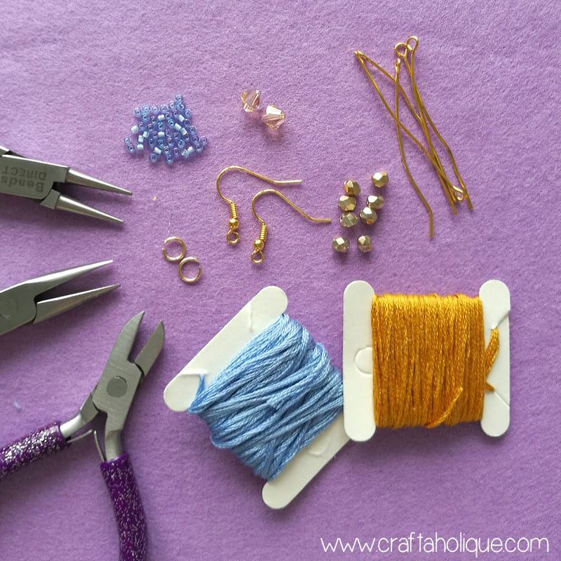 How to make mini tassel earrings with beads and embroidery thread - jewellery making tutorial from Craftaholique