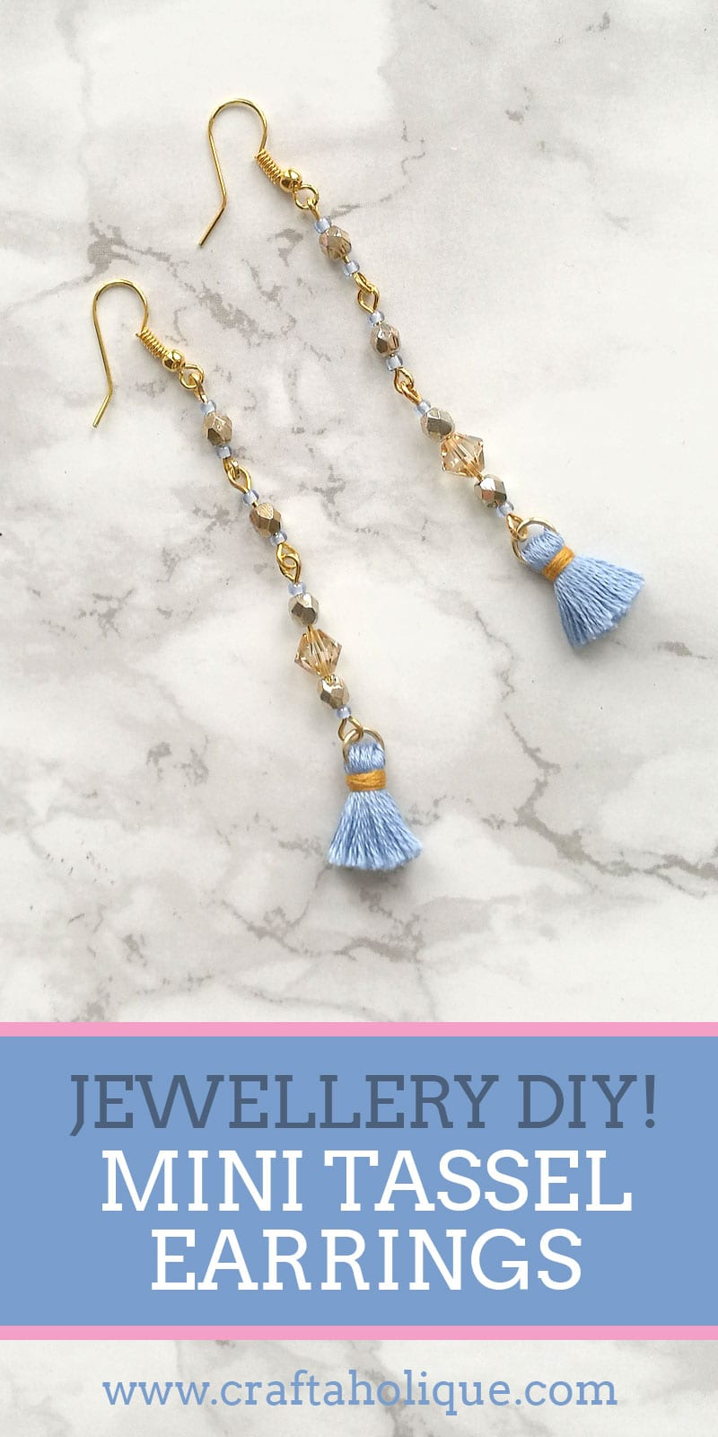 How to make long dangle earrings with mini tassels - jewellery making tutorial from Craftaholique